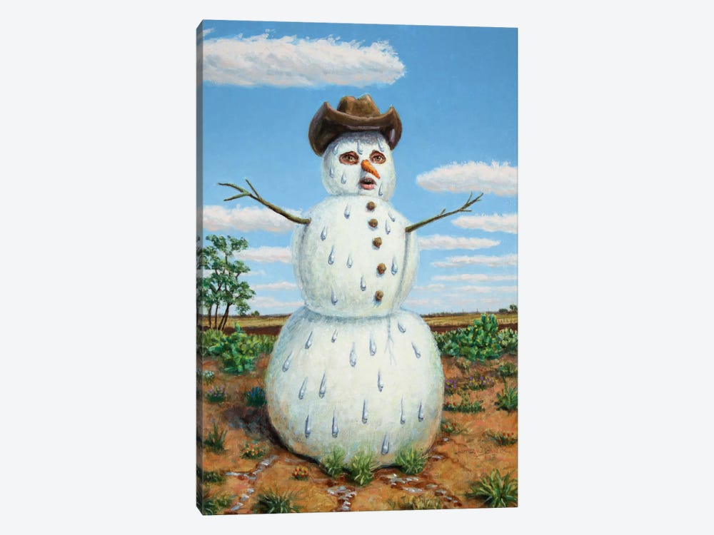 Snowman In Texas by James W. Johnson 1-piece Canvas Art Print