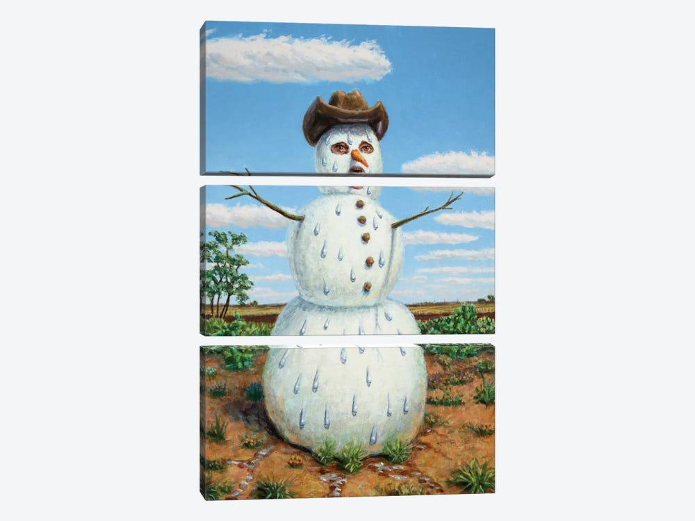 Snowman In Texas by James W. Johnson 3-piece Art Print