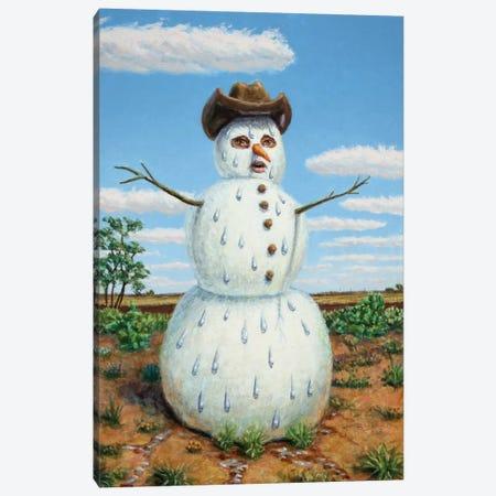 Snowman In Texas Canvas Print #JJN40} by James W. Johnson Canvas Art