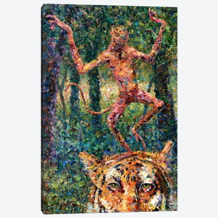 Crazy Monkey Canvas Print #JJN57} by James W. Johnson Canvas Art