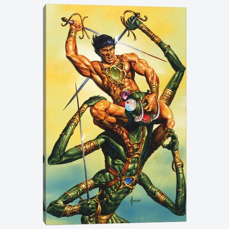 The Battle With Zad Canvas Print #JJU23} by Joe Jusko Canvas Art Print