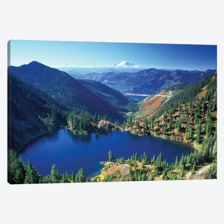 Valley Landscape With Lake Lillian In The Foreground, Alpine Lakes Wilderness, Washington, USA Canvas Print #JJW14} by Jamie & Judy Wild Canvas Print
