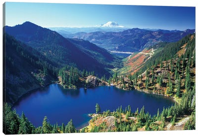 Valley Landscape With Lake Lillian In The Foreground, Alpine Lakes Wilderness, Washington, USA Canvas Art Print