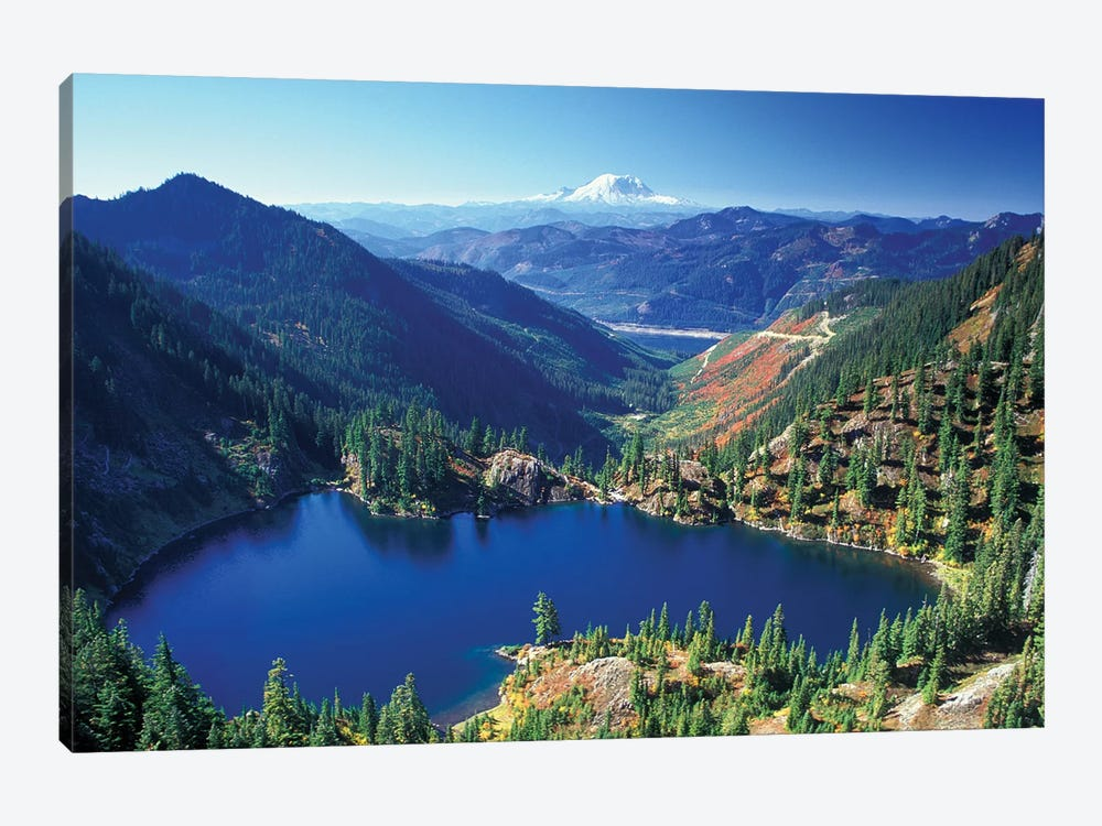 Valley Landscape With Lake Lillian In The Foreground, Alpine Lakes Wilderness, Washington, USA 1-piece Canvas Art Print