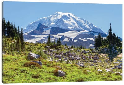 Snow-Covered Mount Rainier As Seen From Seattle Park, Mount Rainier National Park, Washington, USA Canvas Art Print