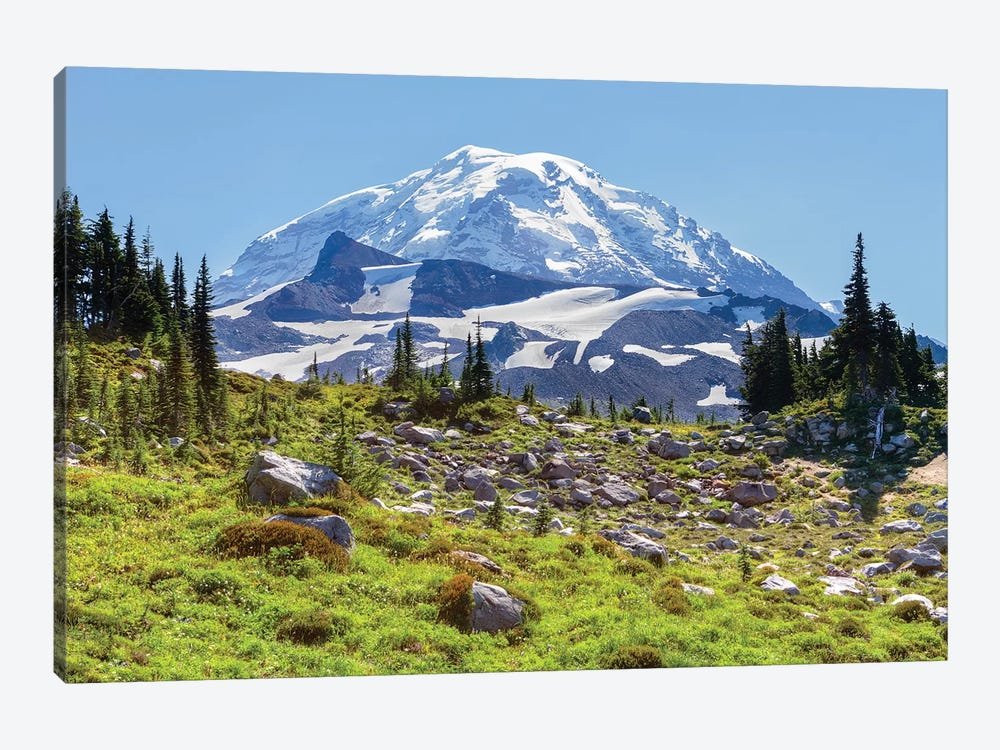 Snow-Covered Mount Rainier As Seen From Seattle Park, Mount Rainier National Park, Washington, USA by Jamie & Judy Wild 1-piece Canvas Print