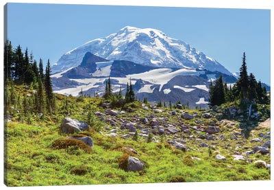 Snow-Covered Mount Rainier As Seen From Seattle Park, Mount Rainier National Park, Washington, USA Canvas Art Print
