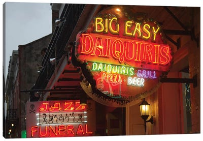 Neon Sign I, Big Easy Daquiris, Bourbon Street, French Quarter, New Orleans, Louisiana, USA Canvas Art Print