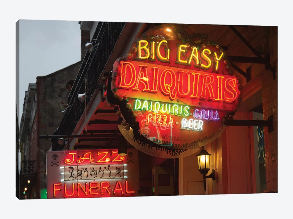 Neon Sign I, Big Easy Daquiris, Bourbon Street, French Quarter, New Orleans, Louisiana, USA by Jamie & Judy Wild 1-piece Canvas Wall Art
