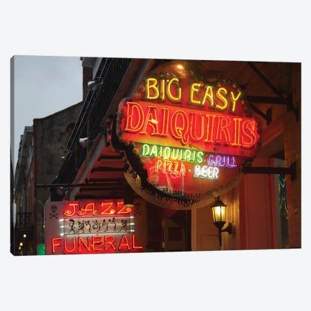Neon Sign I, Big Easy Daquiris, Bourbon Street, French Quarter, New Orleans, Louisiana, USA Canvas Print #JJW1} by Jamie & Judy Wild Art Print
