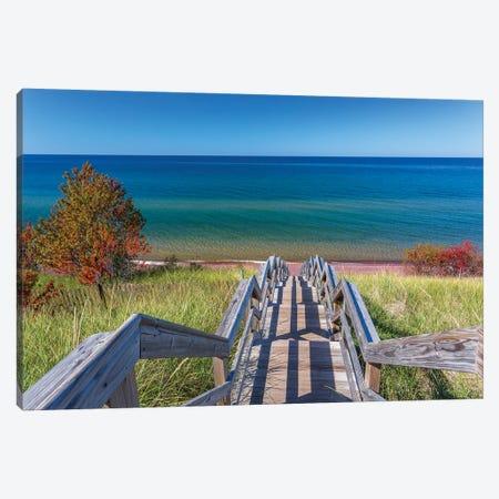 Michigan, Keweenaw Peninsula. Great Sand Bay, trail to beach and Lake Superior Canvas Print #JJW24} by Jamie & Judy Wild Canvas Art