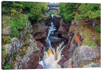 Minnesota, Temperance River State Park, Temperance River, gorge and waterfall Canvas Art Print