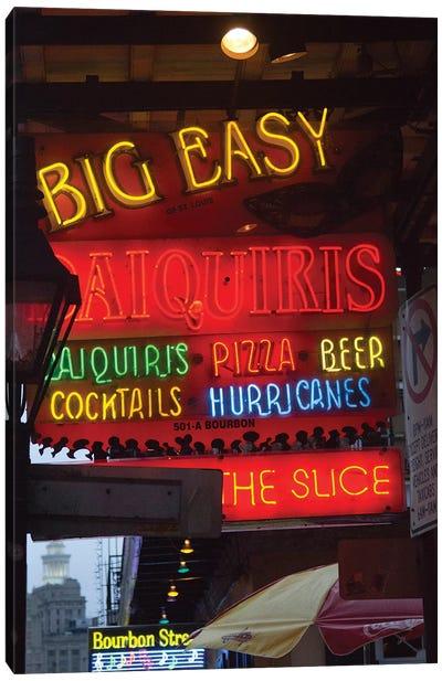 Neon Sign II, Big Easy Daquiris, Bourbon Street, French Quarter, New Orleans, Louisiana, USA Canvas Art Print