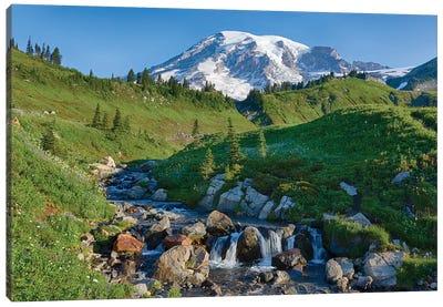 Washington State, Mount Rainier National Park, Edith Creek and Mount Rainier Canvas Art Print