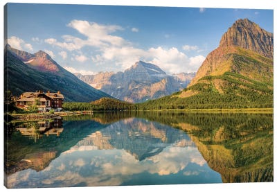 Many Glacier Hotel And Swiftcurrent Lake, Glacier National Park, Montana, USA Canvas Art Print