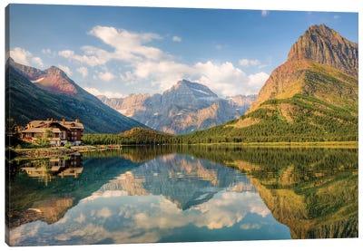 Many Glacier Hotel And Swiftcurrent Lake, Glacier National Park, Montana, USA Canvas Art Print