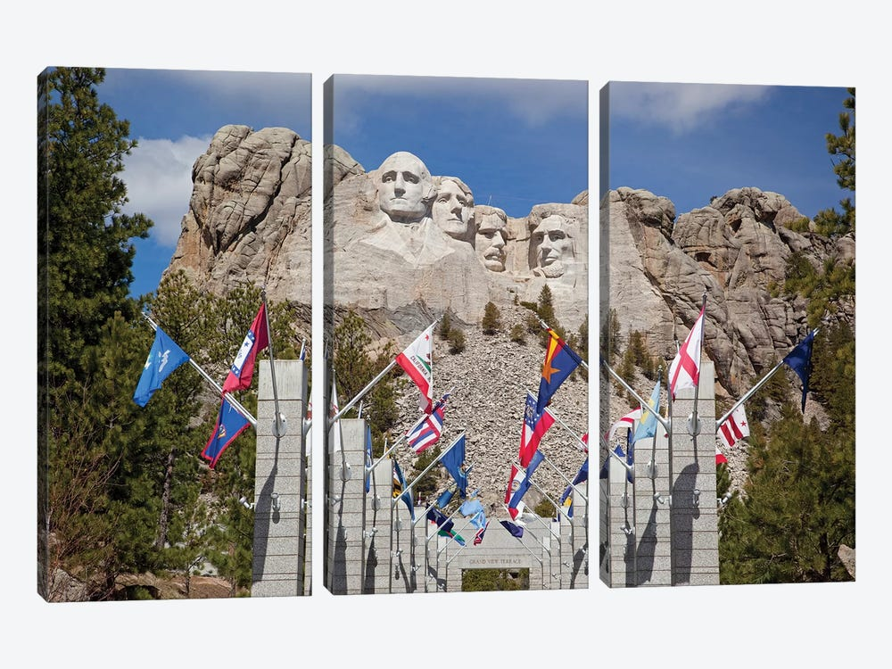 Avenue Of Flags, Grand View Terrace, Mount Rushmore National Memorial, Pennington County, South Dakota, USA by Jamie & Judy Wild 3-piece Canvas Print