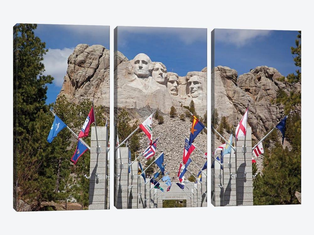 Avenue Of Flags, Grand View Terrace, Mount Rushmore National Memorial, Pennington County, South Dakota, USA by Jamie & Judy Wild 3-piece Canvas Print