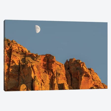 Utah, Zion National Park, Moon over The Watchman Canvas Print #JJW51} by Jamie & Judy Wild Canvas Artwork