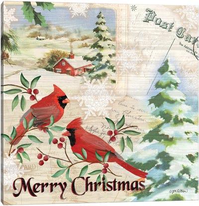 Vintage Christmas Postcard I  Cardinal Canvas Art Print