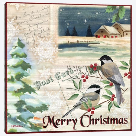 Vintage Christmas Postcard II Canvas Print #JKI16} by Jen Killeen Canvas Artwork