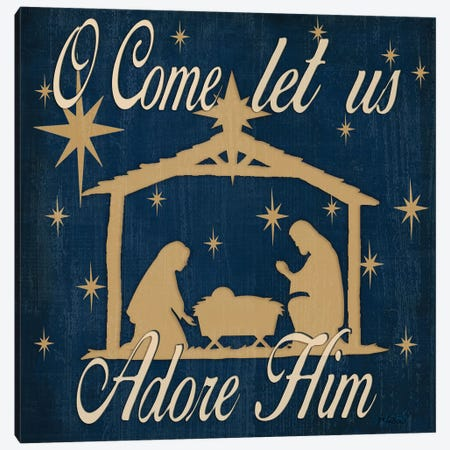 Adore Him Nativity Navy Canvas Print #JKI4} by Jen Killeen Canvas Artwork