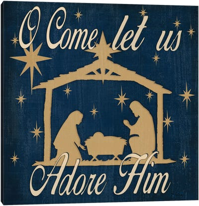 Adore Him Nativity Navy Canvas Art Print