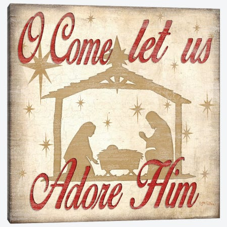 Adore Him Nativity Red  Canvas Print #JKI5} by Jen Killeen Canvas Artwork