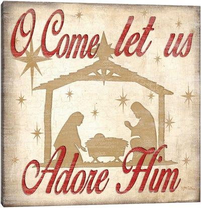 Adore Him Nativity Red  Canvas Art Print