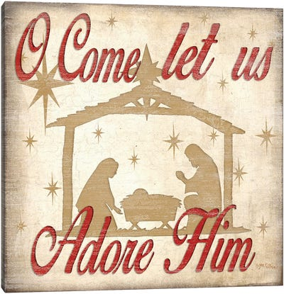 Adore Him Nativity Red  Canvas Art Print