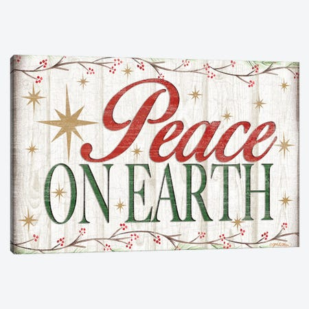 Peace on Earth Wood Sign Canvas Print #JKI9} by Jen Killeen Canvas Art Print