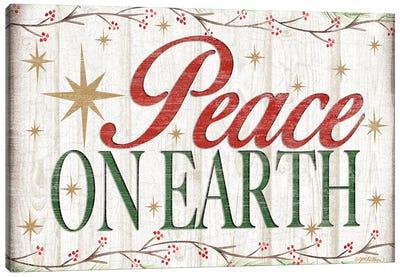 Peace on Earth Wood Sign Canvas Art Print