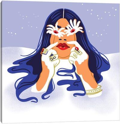 Snow Daisies Canvas Art Print