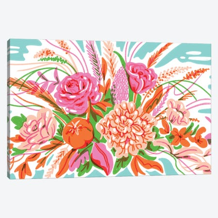 Retro Floral Arrangement Canvas Print #JKY33} by Jordan Kay Art Print