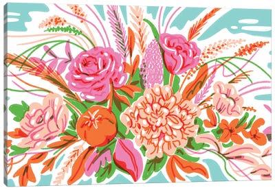 Retro Floral Arrangement Canvas Art Print
