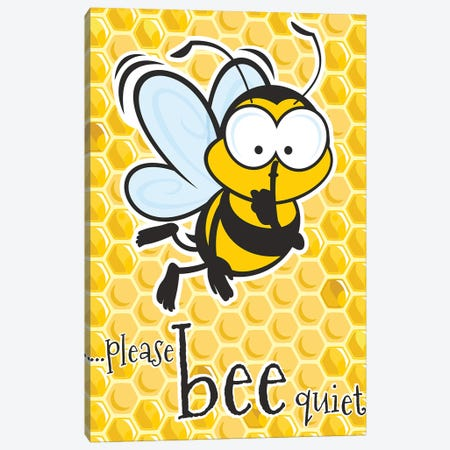 Please Bee Quiet Canvas Print #JLE110} by James Lee Canvas Art