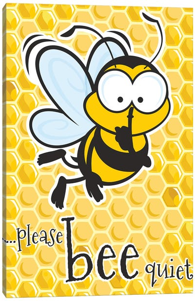 Please Bee Quiet Canvas Art Print