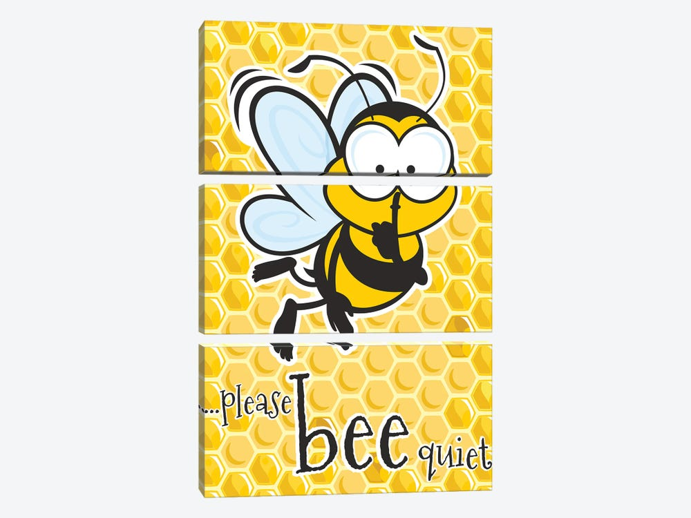 Please Bee Quiet by James Lee 3-piece Canvas Wall Art