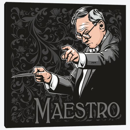 Maestro Ennio Morricone Canvas Print #JLE113} by James Lee Canvas Wall Art
