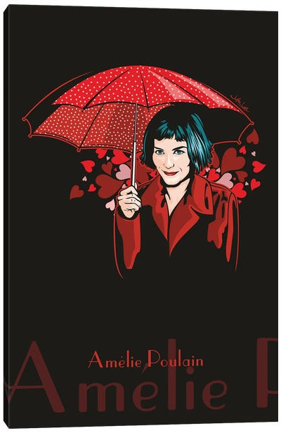 Amelie Poulain With Umbrella Canvas Art Print