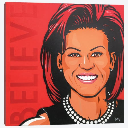Michelle Obama - Believe Canvas Print #JLE134} by James Lee Canvas Art Print