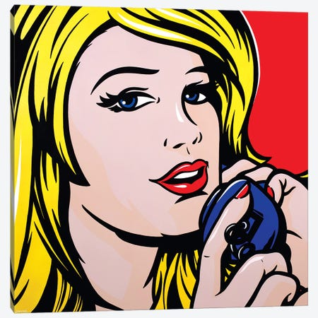 Girl On Phone Canvas Print #JLE14} by James Lee Canvas Art Print