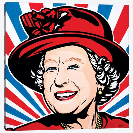 HRH Queen Elizabeth II Canvas Print #JLE16} by James Lee Canvas Print