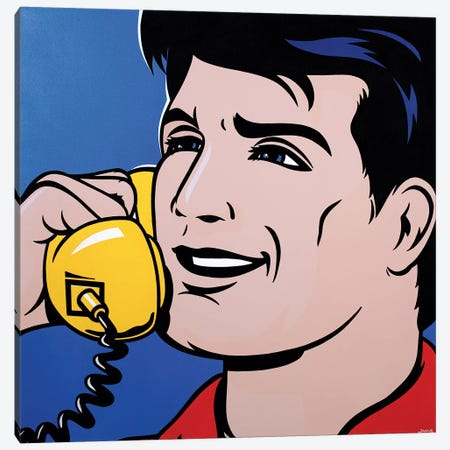 Man On Phone Canvas Print #JLE21} by James Lee Canvas Print