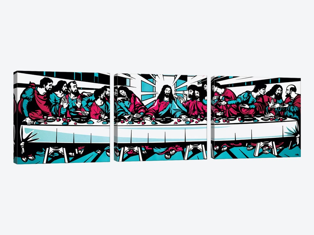 The Last Supper Blue by James Lee 3-piece Canvas Artwork