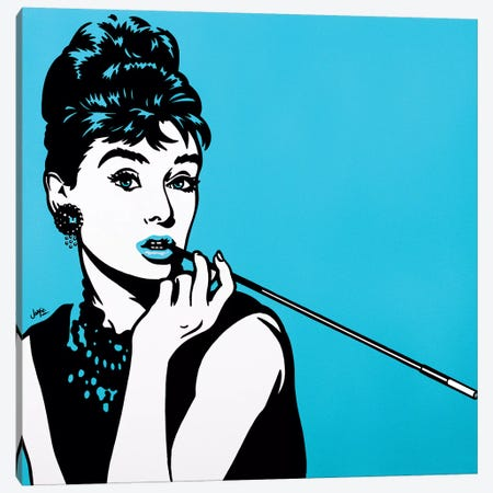 Audrey Hepburn On Turquoise Canvas Print #JLE41} by James Lee Canvas Art Print