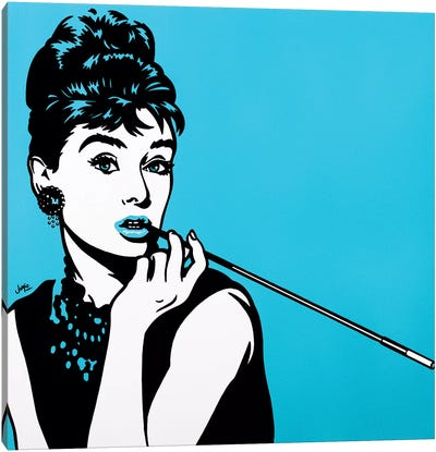 Audrey Hepburn On Turquoise Canvas Art Print