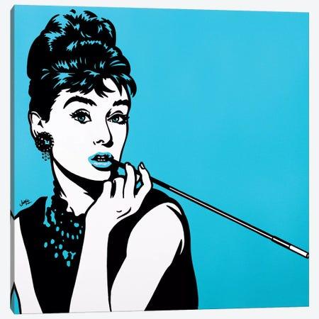 Audrey Hepburn On Turquoise Canvas Print #JLE41} by James Lee Canvas Art Print