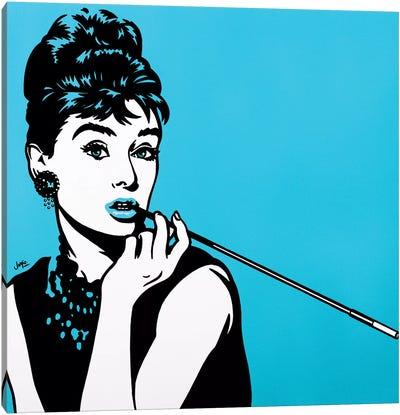 Audrey Hepburn On Turquoise Canvas Art Print