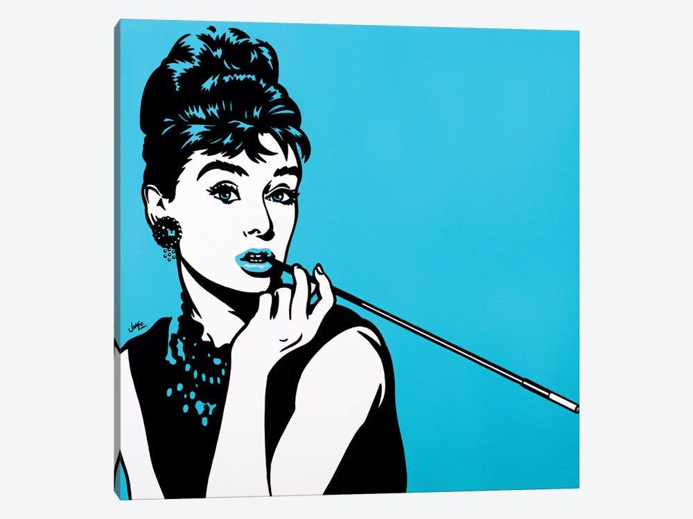 Audrey Hepburn On Turquoise by James Lee 1-piece Art Print